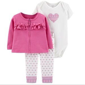 Carter's pink cardigan outfit
